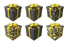 Schwarzes und Goldgeschenkboxen lokalisiert auf weißem Hintergrund mit Goldbögen und -bändern lizenzfreie abbildung