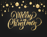 Schwarzes und Goldweihnachtshintergrund mit Funkelndekoration Hand gezeichnete Beschriftung vektor abbildung