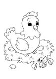 Schwarzes und Kinder - Henne mit Küken Lizenzfreies Stockbild