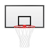 Schwarzes und rotes Basketballrückenbrett lokalisiert auf weißem Hintergrund Stockfotos