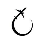 Schwarzes Vektorschattenbild des Flugzeuges Stockbilder