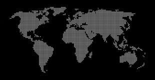 Schwarzes Weiß punktierter Weltkartehintergrund Lizenzfreies Stockfoto