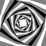 Schwarzes, Weiß und Grey Striped Helix Expanding von der Mitte Optischer Effekt der Tiefe und des Volumens Passend für Webdesign Lizenzfreies Stockbild