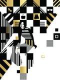 Schwarzes weißes Mode-Quadrat Stockbild