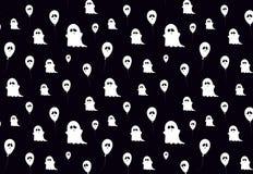 Schwarzes weißes Muster mit Symbolen von Halloween Geister und Ballons Lizenzfreies Stockbild