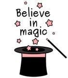 Schwarzes weißes Rosa glauben an magisches Zitat mit magischem Stab und einer Zylinderillustration stock abbildung