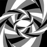 Schwarzes, Weiß und Grey Striped Vortex Converging zur Mitte Optische Täuschung der Tiefe und der Bewegung Stockfoto