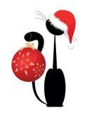 Schwarzes Weihnachtskätzchen Lizenzfreie Stockbilder