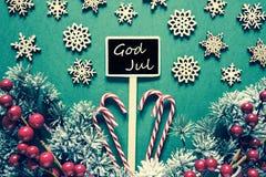 Schwarzes Weihnachtszeichen, Lichter, Gott Jul bedeutet frohe Weihnachten, Retro- Blick lizenzfreies stockbild