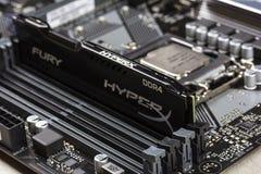 Schwarzes Wut-Gedächtnis RAM Module DDR 4 DIMM 16 GB Kingston HyperX im Schlitz in der Motherboard Asus-Nahaufnahme stockbild