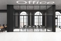 Schwarzes Ziegelstein- und GlasKonferenzzimmer, konkret stock abbildung