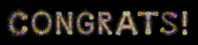 Schwarzrückseite der Feuerwerke Congrats-Textes bunte funkelnde horizontale Lizenzfreie Stockfotografie
