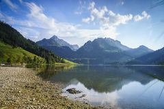 Schwarzsee in Switzerland. Very high resolution, 42.2 megapixels. Schwarzsee in the Alps, Fribourg canton in Switzerland. Photo taken on: September 10th, 2016 royalty free stock photos