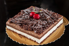Schwarzwald cake. Collocation of fruit and chocolate Stock Image