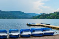 Tretboote am Titisee Schwarzwald royalty free stock photo