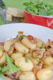 Schwarzwald gnocchi with ham, onion and wine Stock Photos