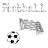 Schwarzweißillustration der grafischen Kunst des Fußballfußballsportballtextes Lizenzfreie Stockfotografie