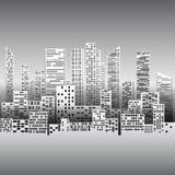 Schwarzweißabbildung mit Stadtgebäuden und -wolkenkratzern Stockfotos