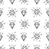 Schwarzweiss-Artdiamanthintergrund Geometrisches nahtloses Muster mit linearen Diamanten Stockfotos
