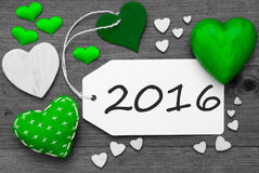 Schwarzweiss-Aufkleber mit grünen Herzen, Text 2016 Lizenzfreies Stockbild