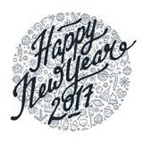 Schwarzweiss-Beschriftung des guten Rutsch ins Neue Jahr 2017 Stockfoto