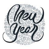 Schwarzweiss-Beschriftung des neuen Jahres Vektor Abbildung