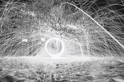 Schwarzweiss-Bild der Beleuchtung innerhalb einer Kabine Stockfotografie