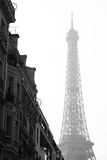 Schwarzweiss-Bild des Eiffelturms Stockfoto