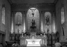 Schwarzweiss-Bild einer 18. Jahrhundert-Auftrag-Kirche Stockfoto