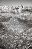 Schwarzweiss-Bild einer Schlucht in Zion National Park, U Stockbild