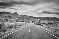 Schwarzweiss-Bild einer szenischen Straße, USA Stockfoto