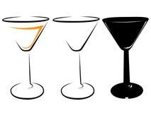 Schwarzweiss-Bild eines dreieckigen Weinglases Stockfotografie