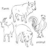 Schwarzweiss-Bild eines Stiers, des Hahnes, des Schweins und der Ziege Stockbilder