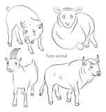 Schwarzweiss-Bild eines Stiers, des Schweins, der Schafe und der Ziege Stockfotografie