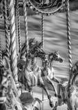 Schwarzweiss-Bild von alten Dampf-Karussell-Pferden Lizenzfreies Stockfoto