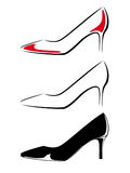 Schwarzweiss-Bild von Schuhen Stockfoto