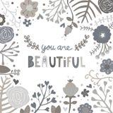 Schwarzweiss-Blume sind Sie schöne Karte Stockfotografie