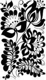 Schwarzweiss-Blumen und Blätter. Blumenmusterelement Stockfotografie