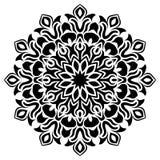 Schwarzweiss-Blumenblattlinie Kunst Mandala Illustration Stern, Vektor lizenzfreies stockbild