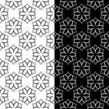 Schwarzweiss-Blumenverzierungen Set nahtlose Hintergründe Stockfotografie
