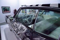 Schwarzweiss--Chevrolet- Impalalowrider 1968 nannte EL Muertor Lizenzfreies Stockfoto