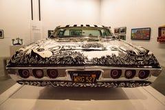 Schwarzweiss--Chevrolet- Impalalowrider 1968 nannte EL Muertor Stockfoto
