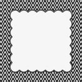 Schwarzweiss--Chevron-Rahmen mit Stickerei-Hintergrund Lizenzfreies Stockfoto