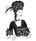 Schwarzweiss-Dame mit Iri lizenzfreie abbildung