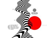 Schwarzweiss-Design Muster mit optischer Illusion Abstrakter geometrischer Hintergrund 3d Vektor lizenzfreie abbildung