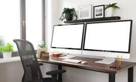 Schwarzweiss-Desktop mit zwei leeren Bildschirmen stockbild