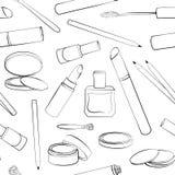 Schwarzweiss-Entwurf Nahtloses Muster mit Hand gezeichneter Kosmetiksammlung Stockbild