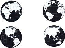 Schwarzweiss-Erdekugel Stockfotos