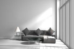 Schwarzweiss-Farbsofa-Lampentabelle, Wiedergabe 3D stockfoto