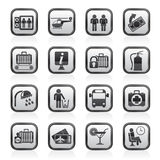 Schwarzweiss-Flughafen-, Reise- und Transportikonen Lizenzfreie Stockbilder